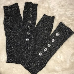 Black / Silver Sparkly Leg Warmers / Boot Covers